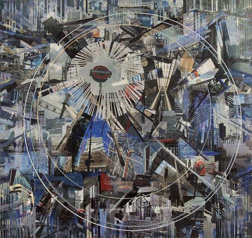 Quizás el tiempo determine la dimensión del espacio  Oli i transfer sobre lli, 186 x 204 cm, 2016