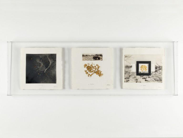 Emmarcant un tot - I  Tècnica mixta, Conjunt de 3 obres sobre paper, 30.5 x 30.5 cm cadascuna, 2019. Col·lecció Fundació Marguerida de Montferrato