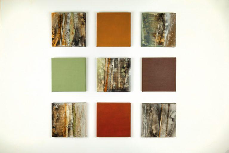 Sons i ombres:  Debussy on my mind  Composició de 9 peces, tècnica mixta i collage, 30 x 30 cm cadascuna, 2019
